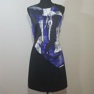 Calvin Klein Modern Print Zipper Detail Dress NWOT